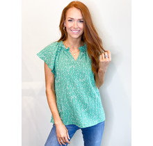 Green Vine Ruffle Flutter Top