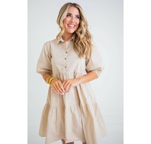 Khaki Solid Popline Puff Shoulder Dress