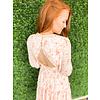 Pink Floral Chiffon Vneck Dress