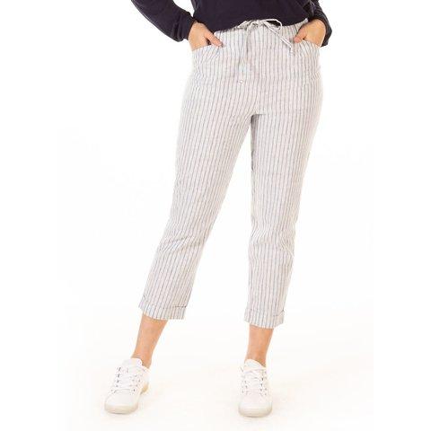High Rise Elastic Waist Stripe Pant