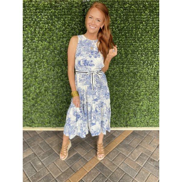 Blue Painting Tiered Midi Dress