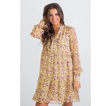 Yellow Leopard Vneck Ruffle Dress