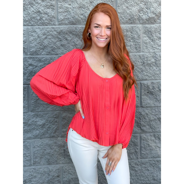 Coral PLeated Top