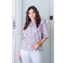 Lavender Floral Ruffle Button Down Top