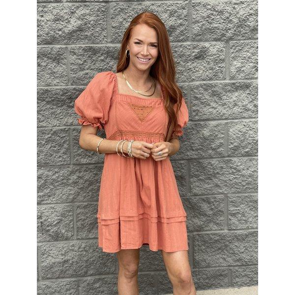 Persimmon Short Puff Sleeve Dress