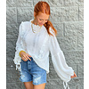 White Puff Sleeve Vertical Pleat Top