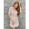 Cream Combo Puff Sleev Mini Dress