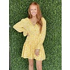 Yellow snake Vneck Smock waist dress