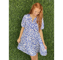 ROYAL FLORAL TIERED DRESS