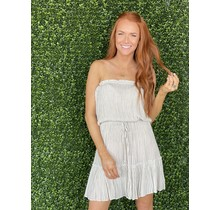 Taupe Stripe Strapless Dress