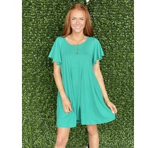 Flutter Sleeve Knit Dress- Green