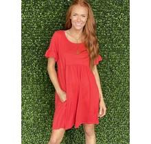 Tangerine Babydoll Ruffle Sleeve Tshirt Dress