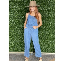 BLUE WASH DRAWSTRING WAIST JUMPSUIT
