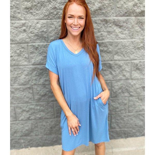 Solid Rolled Sleeve TShirt Dress