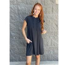 Black Hooded Tshirt Dress