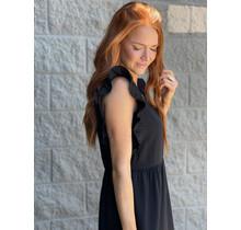 Black Ruffle Vneck Dress