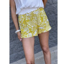 Mustard Floral Pull on Short