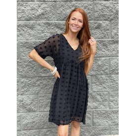 Black Swiss Dot Babydoll Dress