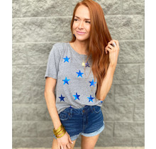 Grey w/ Blue Stars Tee
