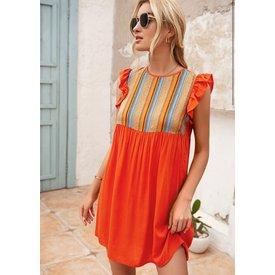 Orange Ruffle Sleeve Dress