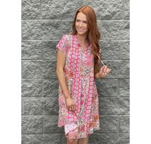Pink Multi Print Dress