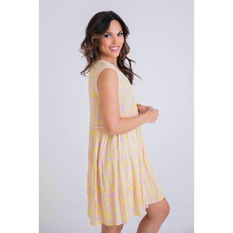 Floral Vneck tier sleeveless dress