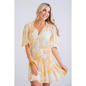 70's Floral smocked waist dress