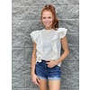 Floral Linen Ruffle Front Slvless Top