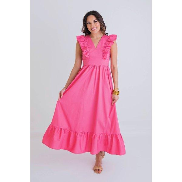 Pink Solid Ruffle Poplin Maxi Dress