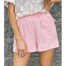 Pink Solid Gauze Short