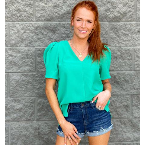 Kelly Green Puff Sleeve Top