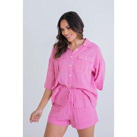 Solid Gauze Linen Camp Shirt