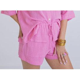 Solid Gauze Linen Pocket Tie Short