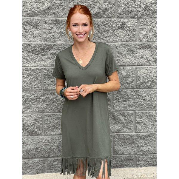 Olive Vneck Fringe Dress