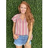 Taupe/Coral Stripe Top