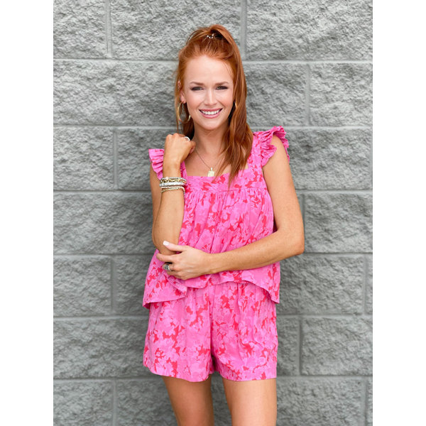 Red & Pink Mix Foral Ruffe Tank
