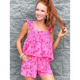 Red & Pink Mix Foral Ruffle Short