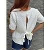 Ivory Tie Back Short Sleeve  Sweater