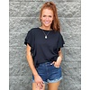 Black Solid Knit Ruffle Top