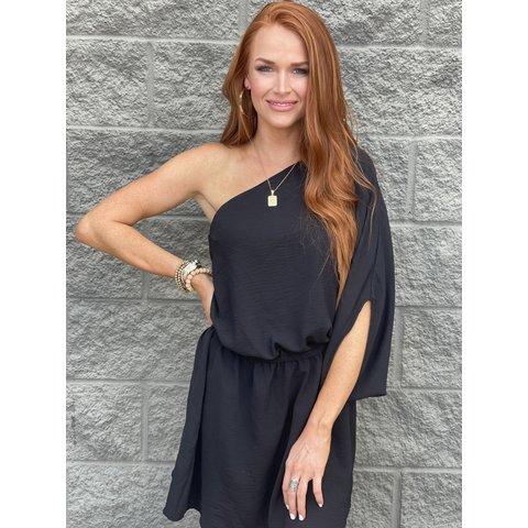 Black One shoulder Mini Dress