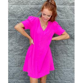 Hot Pink Puff Sleeve Shift Dress