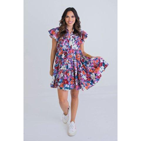 Multi Floral Tier Dress