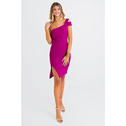 Magenta One Shoulder Dress