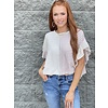 Ivory/Rust Ruffled Stripe French Terry Top