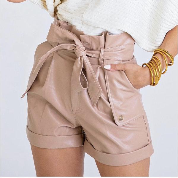 Camel Pleather Pocket Short