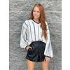 White Vneck Stripe Sweater
