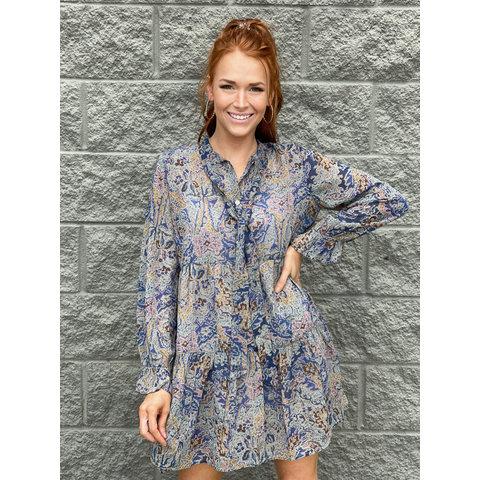 Blue Tapestry Vneck Dress