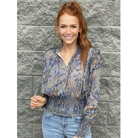 Blue Tapestry Smocked Top