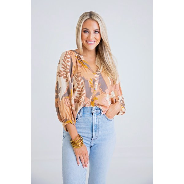 Floral 70's Button Up Top