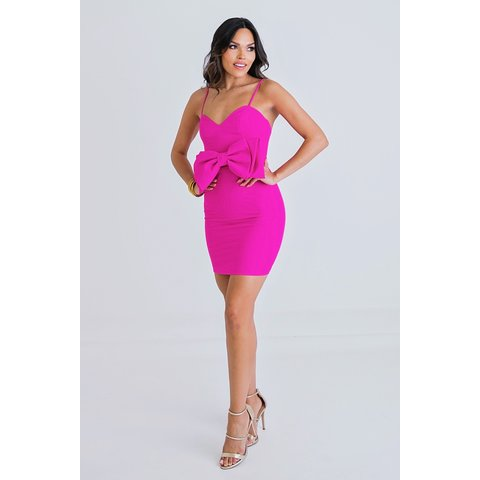 Solid Pink Bow Sweetheart Dress